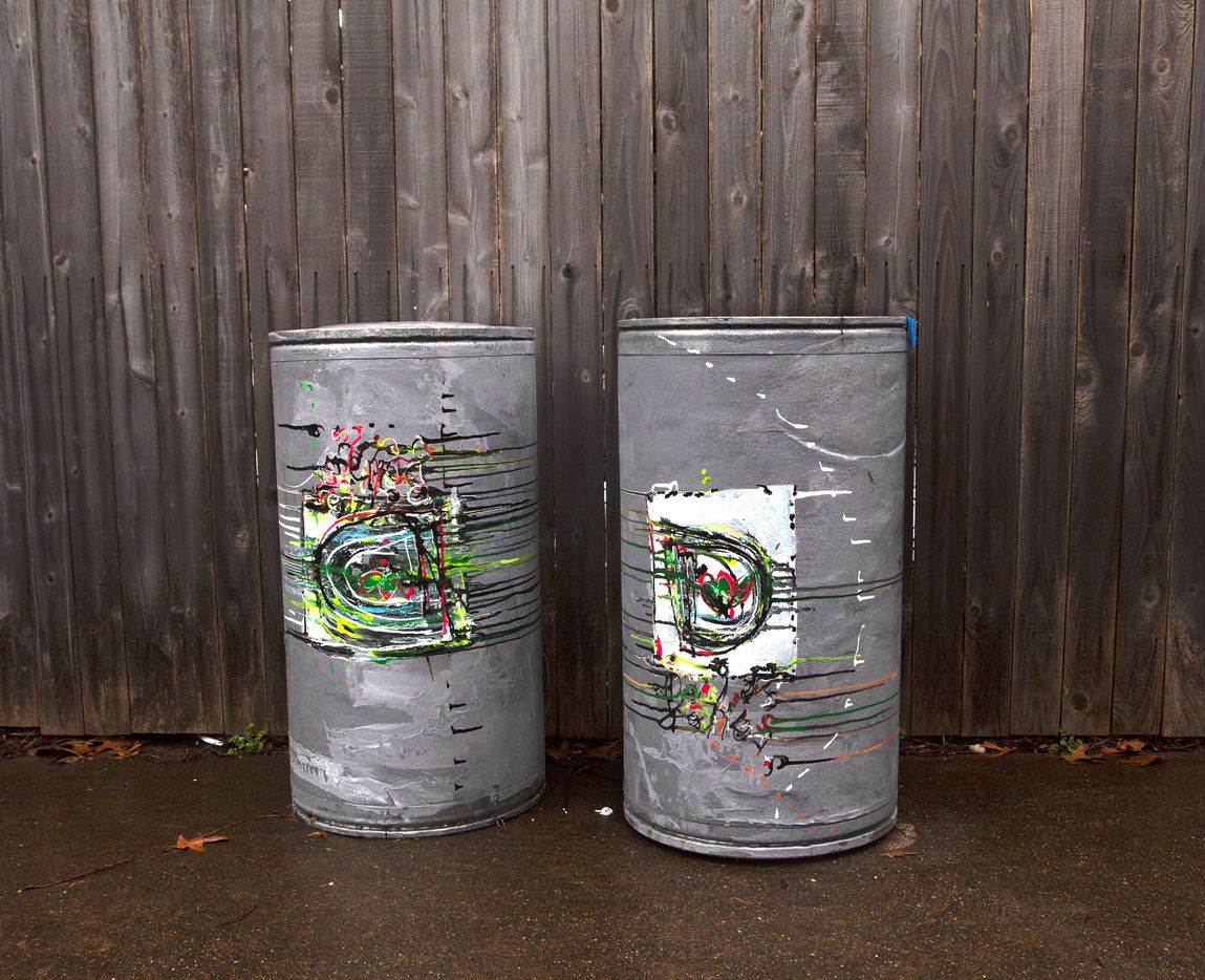 Untitled (City of Dallas Trash Can Study), 2017. Mathis made this piece from found trash cans and paint.