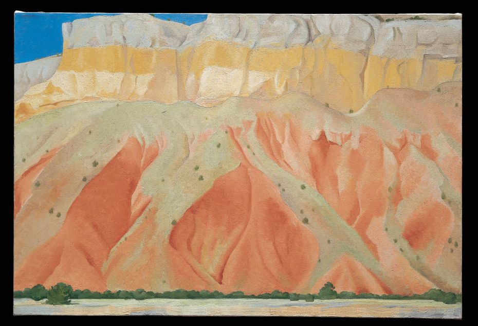 """""""Untitled (Red and Yellow Cliffs)"""" is a 1940 oil-on-canvas work by Georgia O'Keeffe."""