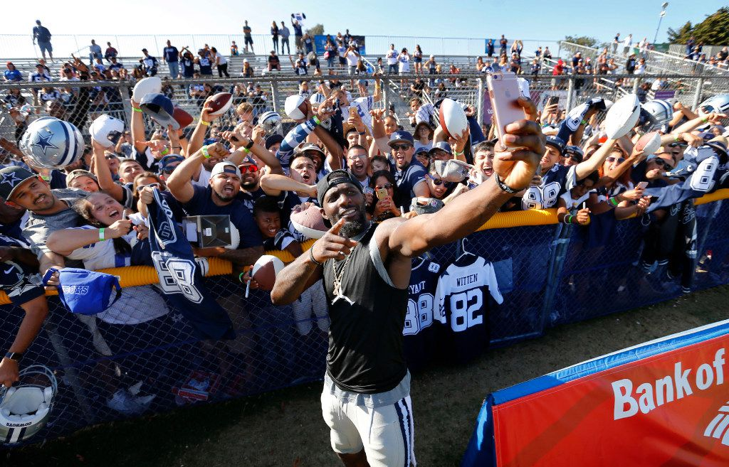 Dallas Cowboys wide receiver Dez Bryant (88) films himself and fans for a Cowboys social media video following the Blue-White Scrimmage at training camp in Oxnard, California, Saturday, August 6, 2016. (Tom Fox/The Dallas Morning News)