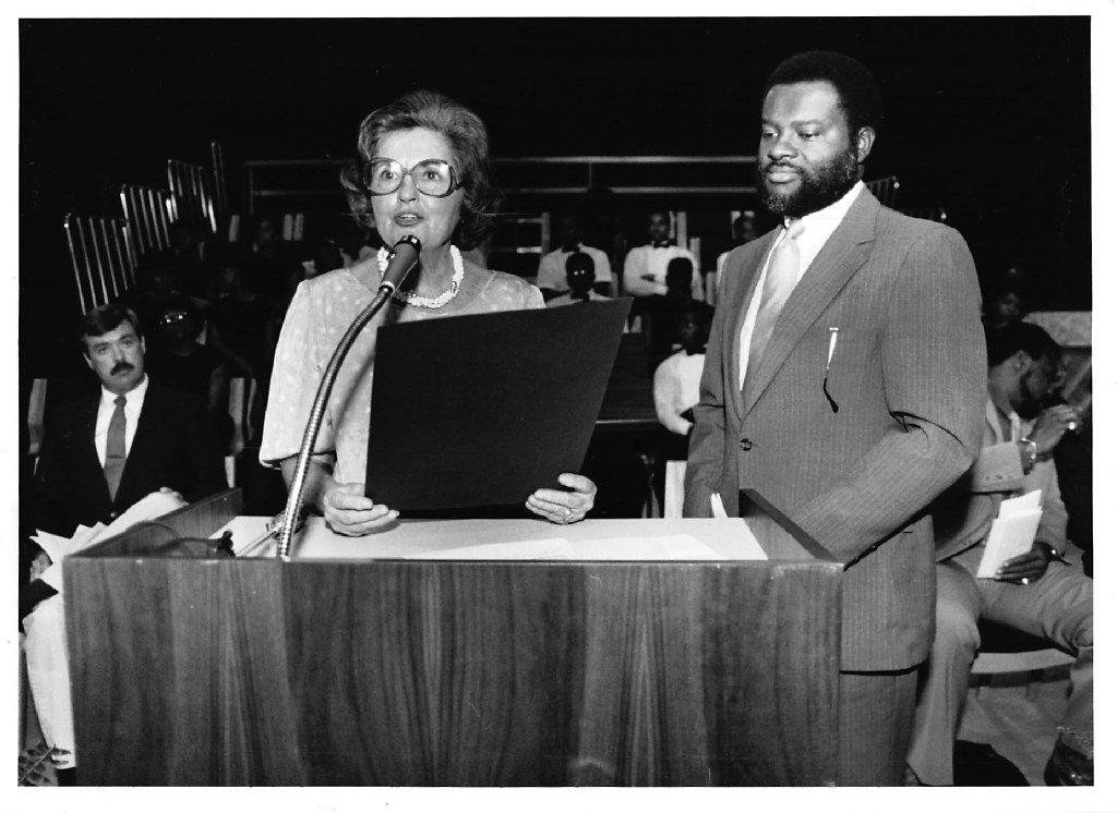 Annette Strauss, then mayor pro tem, along with Billy Allen, then president of the Dallas Park and Recreation Board, dedicate the South Dallas Cultural Center on June 7, 1986.