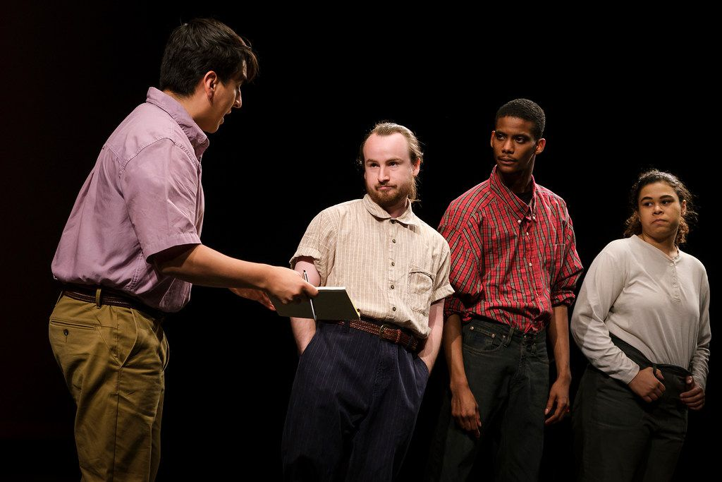 Edwin Aguilar (left) portrays Cesar Chavez and David Helms, Elliot Sims and Jenna Davis-Jones portray farmworkers in a scene from Cara Mia Theatre Co.'s production of El Malcriado at the Latino Cultural Center on  April 12, 2019, in Dallas.