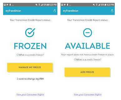 TransUnion is the first credit bureau to introduce an app to freeze and unfreeze a person's credit account.