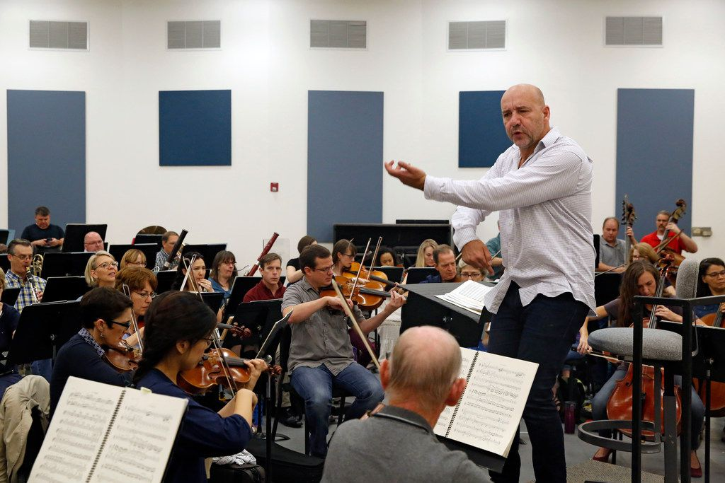 Dallas Opera music director Emmanuel Villaume conducts during a rehearsal of Carmen at the Karayanis Rehearsal Center in Dallas.
