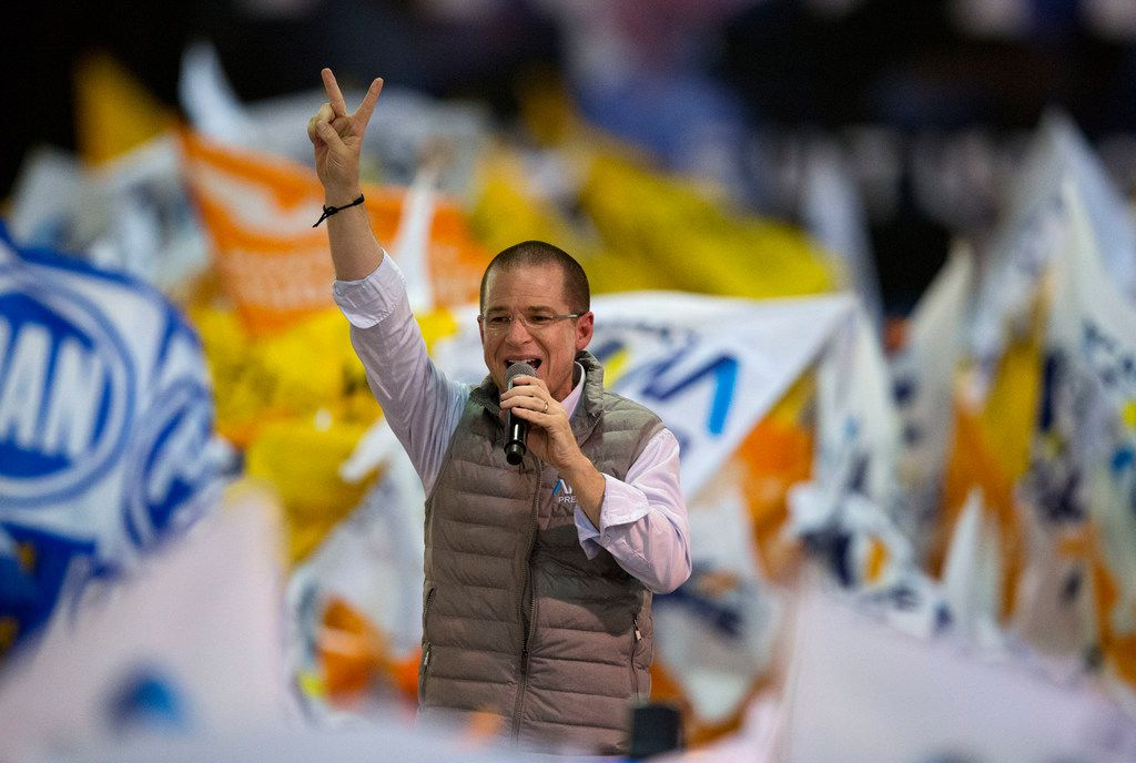 Presidential candidate Ricardo Anaya of the Forward for Mexico Coalition during a campaign rally in Tlalnepantla, Mexico State, Mexico, on Friday, April 20, 2018. Mexico will choose a new president on July 1.