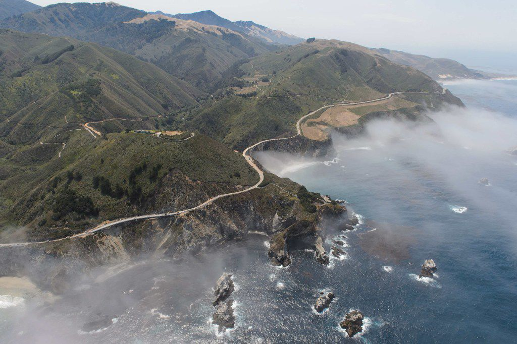 On the road from San Francisco to Los Angeles, look for the Big Sur coastline and Bixby Bridge.