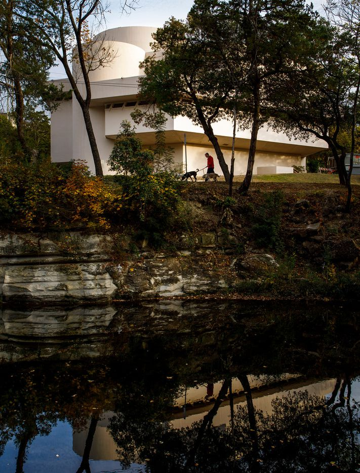 The Kalita Humphreys Theater is seen from across Turtle Creek, which was how architect Frank Lloyd Wright originally intended visitors to approach the theater