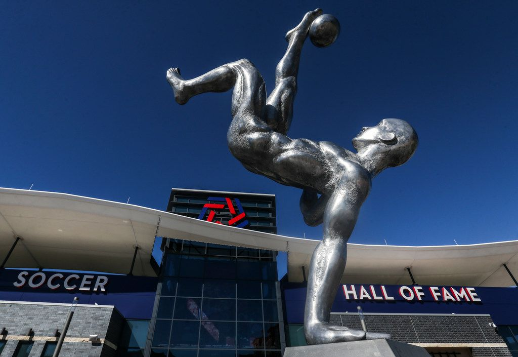 The Kick statue graces the entrance to the National Soccer Hall of Fame, built into the south side of Toyota Stadium, which is home to Major League Soccer's FC Dallas. The Hall of Fame opens for the first time Saturday with an invitation-only induction ceremony. It opens to the public Nov. 2.