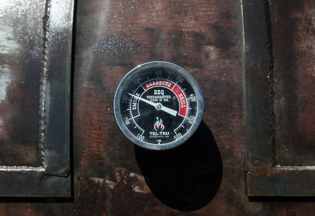 A smoker thermometer is seen at Smoke Sessions Barbecue on Friday, April 20, 2019 in Royse City, Texas. (Ryan Michalesko/The Dallas Morning News)