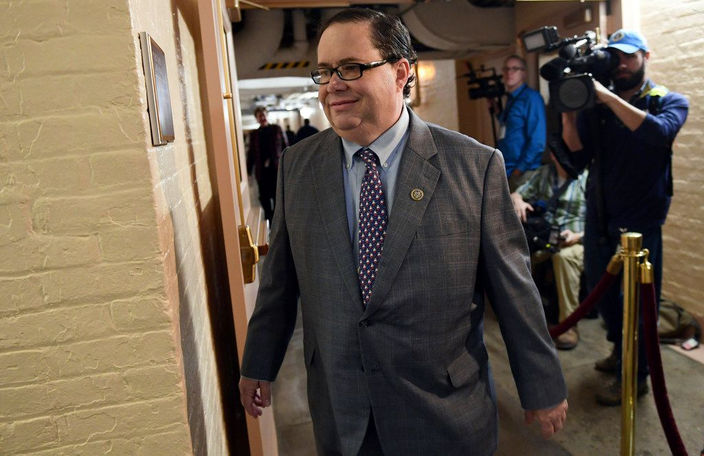 Rep. Blake Farenthold, R-Texas, arrives for a meeting of House Republicans on Capitol Hill in Washington, Tuesday, Dec. 19, 2017. Republicans are ready to ram a $1.5 trillion tax package through Congress, giving President Donald Trump the legislative win he desperately wants.