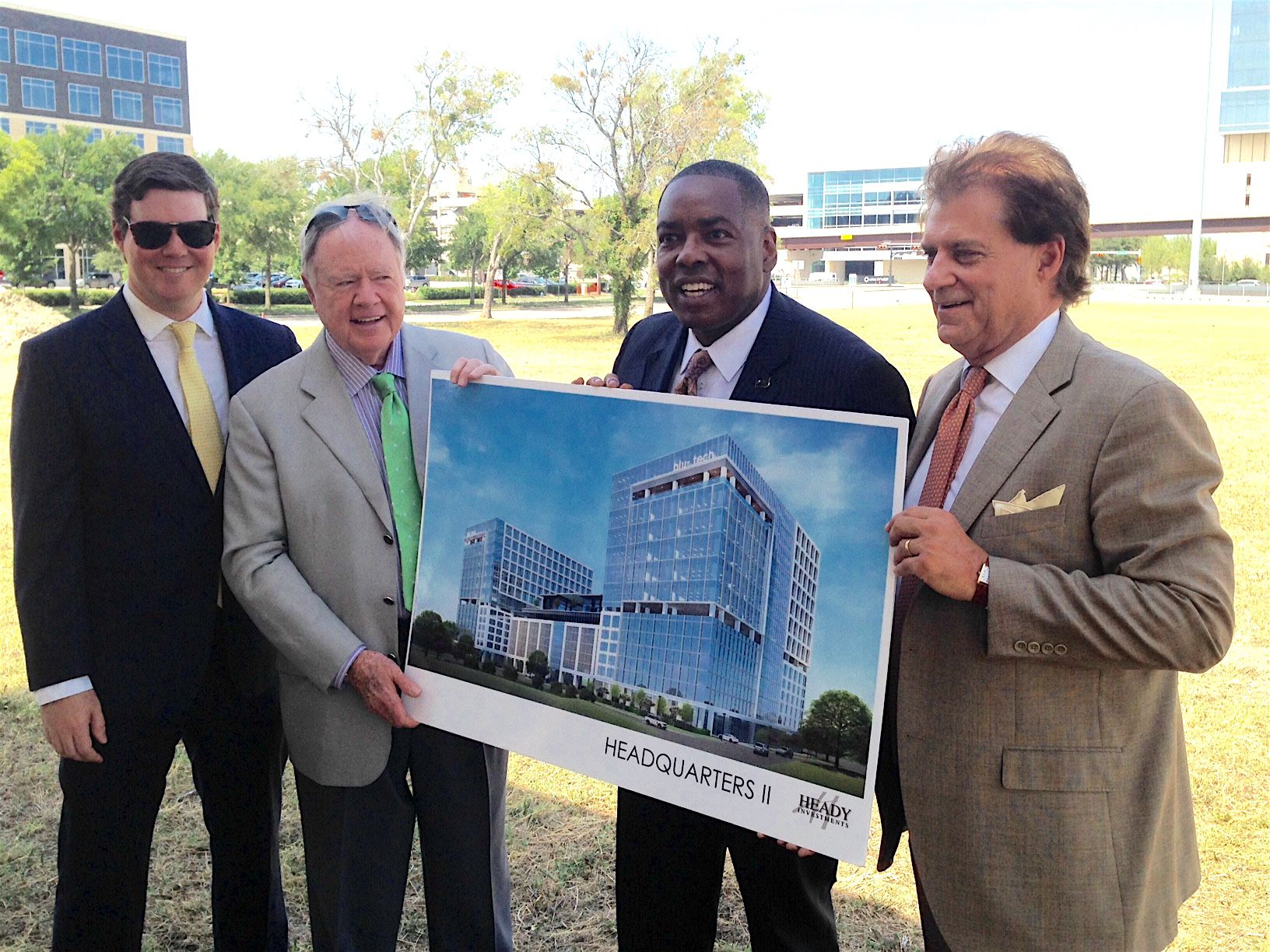 Heady Investments' Sayres Heady, left, developer Randy Heady, Plano Mayor Harry LaRosiliere and Mark Lewis at the groundbreaking.