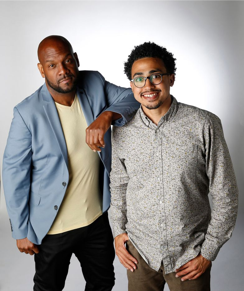 Victor Carrington of Dallas (left) and Turner Cooper of Dallas pose for a portrait in the studio in Dallas on Monday, June 11, 2018. (Vernon Bryant/The Dallas Morning News)