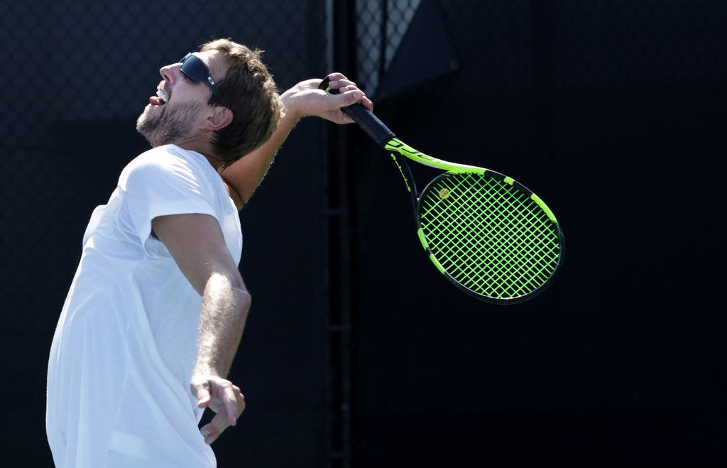 Dirk Nowitzki plays in a match during the Mavericks legend's annual charity tennis tournament at the SMU Tennis Center in Dallas, TX, on Sep. 15, 2019