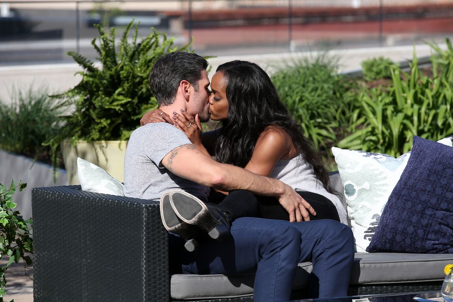 Rachel Lindsay and Peter Kraus lock lips on a bench in his hometown, Madison, Wisconsin. So casual.