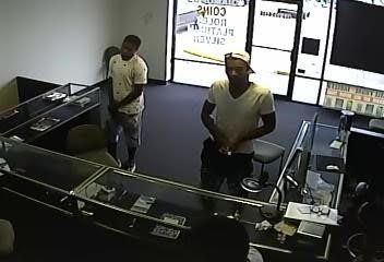 A surveillance camera caught the robbers in the act.