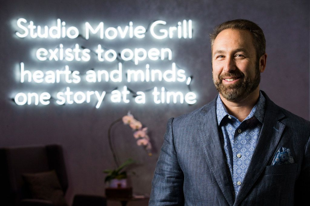 Brian Schultz, founder, owner and CEO of Studio Movie Grill, poses for a portrait on Friday, February 2, 2018 at the Studio Movie Grill headquarters on Park Central Drive in Dallas. (Ashley Landis/The Dallas Morning News)