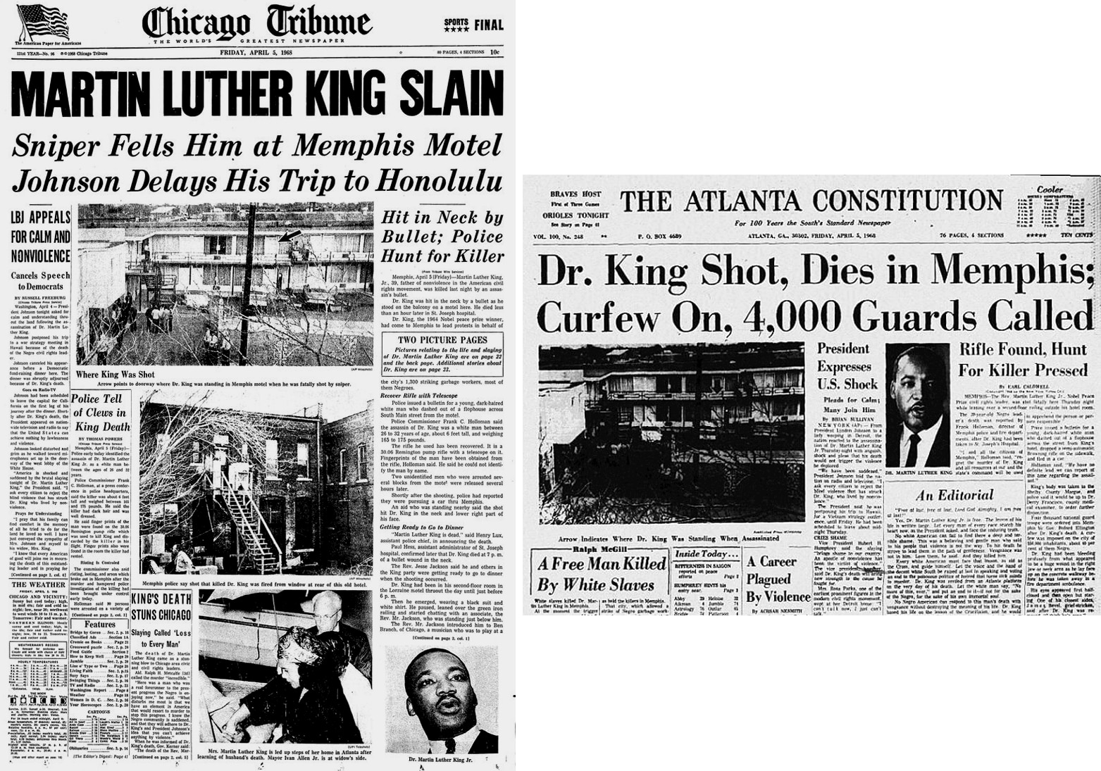 The Chicago Tribune and Atlanta Constitution