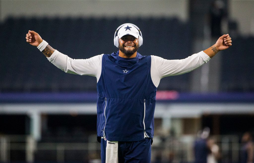 Dallas Cowboys quarterback Dak Prescott (4) warms up before an NFL game between the Dallas Cowboys and the Houston Texans on Saturday, August 24, 2019 at AT&T Stadium in Arlington.