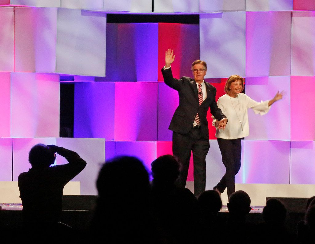 Texas Lieutenant Governor Dan Patrick and his wife wave to the crowd during the 2018 Texas GOP Convention held at the Henry B. Gonz‡lez Convention Center in downtown San Antonio. Texas on Friday, June 15, 2018. (Louis DeLuca/The Dallas Morning News)