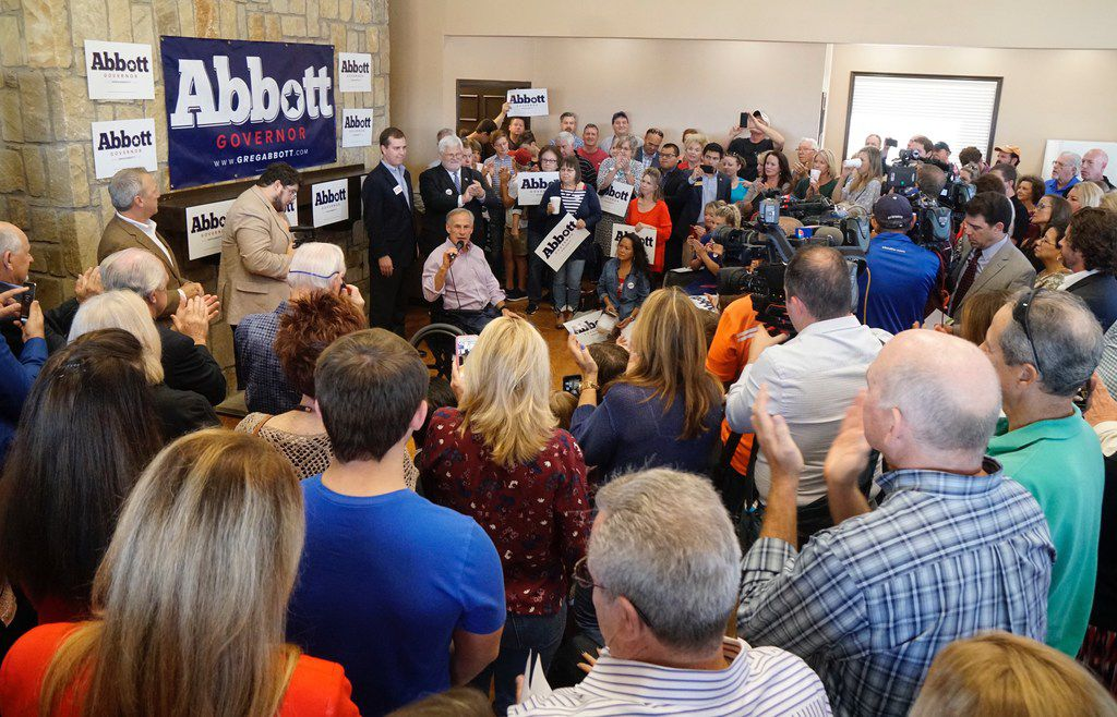Governor Greg Abbott speaks to a small crowd of supporters at the Castle Hills Community Center in Lewisville, TX on Monday October 29, 2018.
