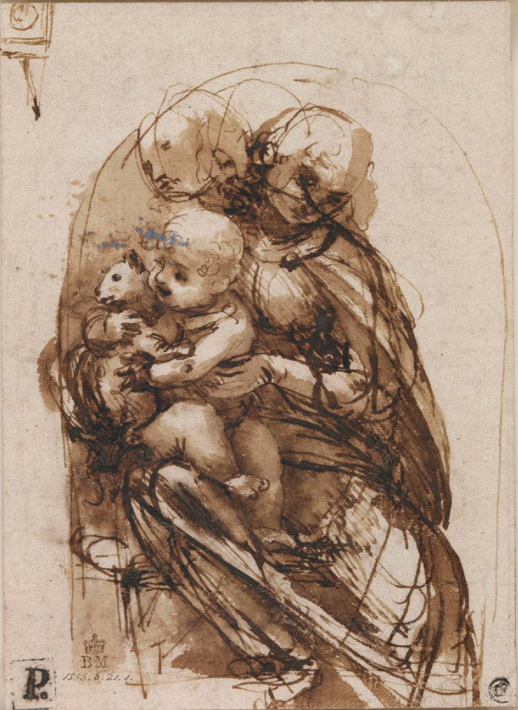 "Leonardo da Vinci's drawing ""The Virgin and Christ Child With a Cat,"" from  about 1478 81, is done in pen and brown ink over stylus underdrawing. It's part of ""Lines of Thought: Drawing from Michelangelo to Now: from the British Museum,"" on display at the New Mexico Museum of Art in Santa Fe."