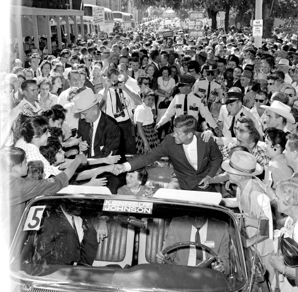 Judge Sarah T. Hughes sits between Lyndon Johnson and John F. Kennedy as their motorcade departs Fort Worth's Burk Burnett Park on Sept. 13, 1960.