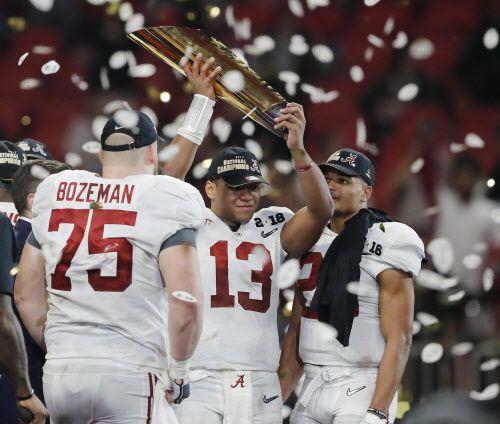 Alabama superó el lunes 26-23 a Georgia, con lo que conquistó su quinto título nacional en el fútbol americano universitario desde 2009. Foto AP
