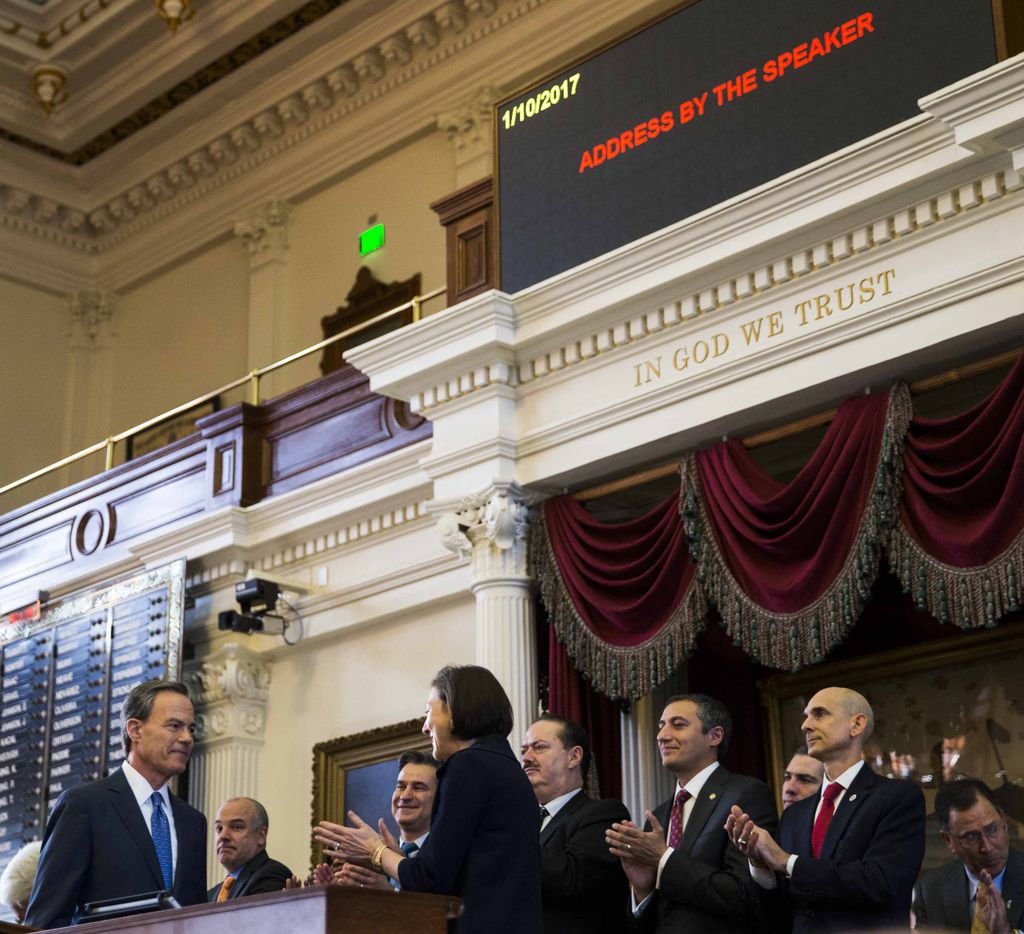 Texas Speaker of the House Joe Straus is applauded on the first day of the 85th Texas Legislative Session on Tuesday at the Texas State Capitol in Austin.