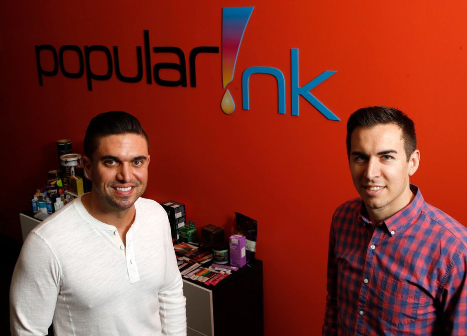 Ray Salinas (left), COO and Dru Riess, CEO pose for a portrait at Popular Ink in McKinney7.  (Vernon Bryant/The Dallas Morning News)