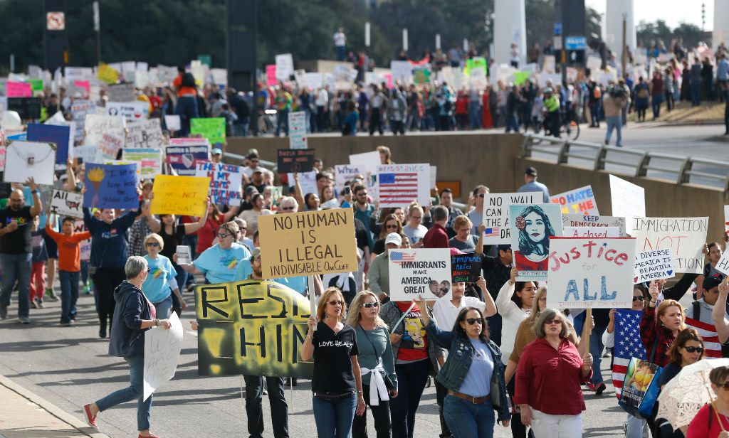 Thousands showed up and marched through the city for immigrant and refugee communities in downtown Dallas on February 18, 2017.