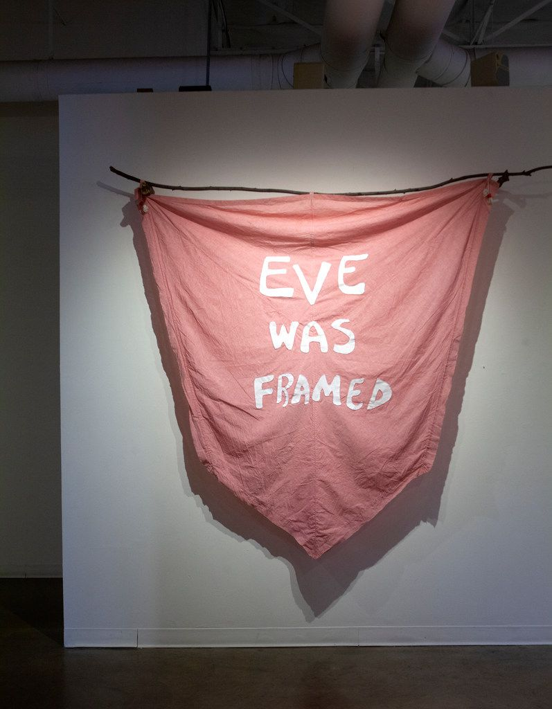 'Eve Was Framed,' 2018, vintage military parachute, embroidery thread, branches; an installation detail at 'Hope Is the Thing With Feathers'