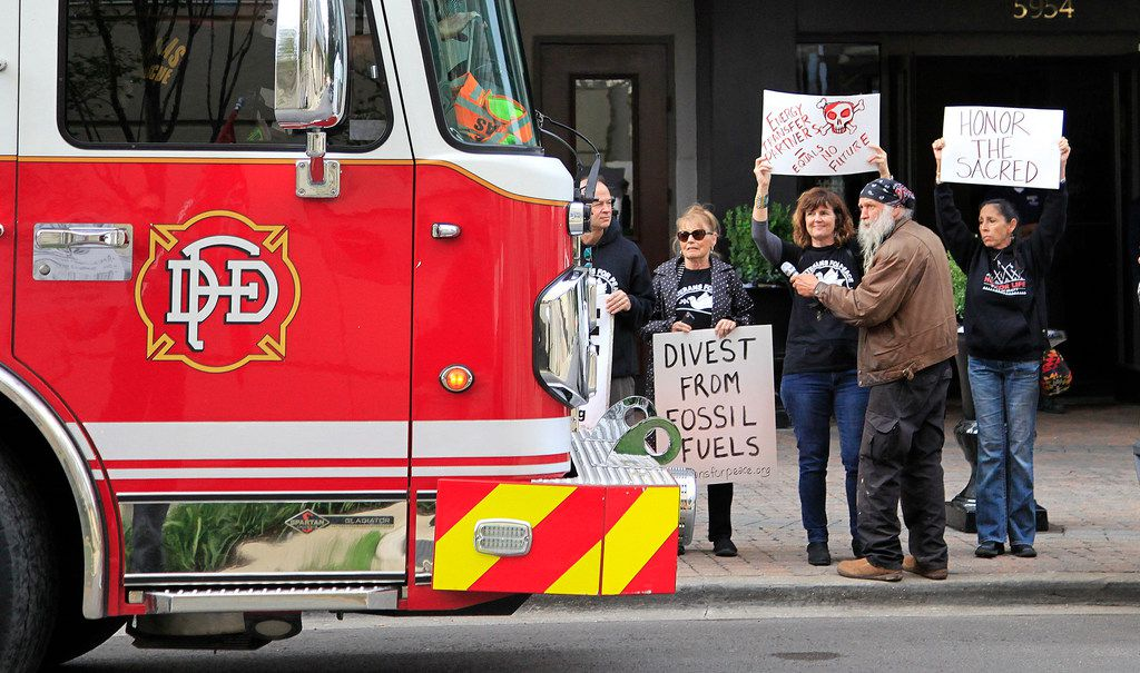 The Dallas Fire-Rescue responded to the Hilton Hotel as indigenous  and environmental groups held a rally outside Energy Transfer's special meeting of unit holders in Dallas. (Stewart F. House/Special Contributor)
