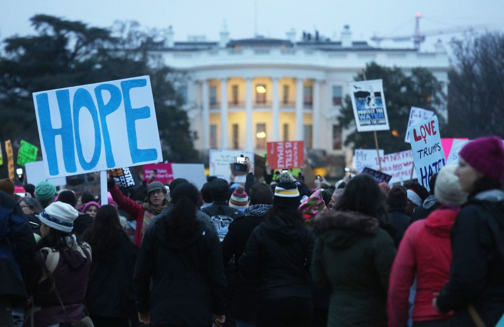 Protesters gather outside the White House at the finish of the Women's March on Washington on January 21, 2017 in Washington, DC.
