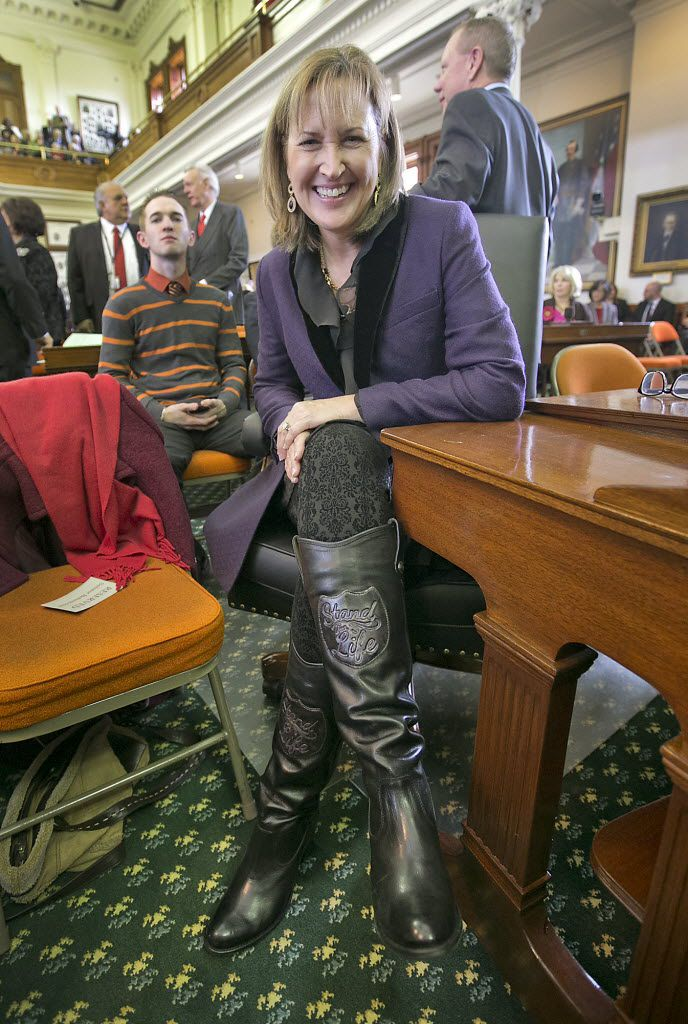 """Texas state Sen. Konni Burton wore a pair of boots with the words """"Stand For Life"""" printed on them when she was sworn into the Senate in 2015."""