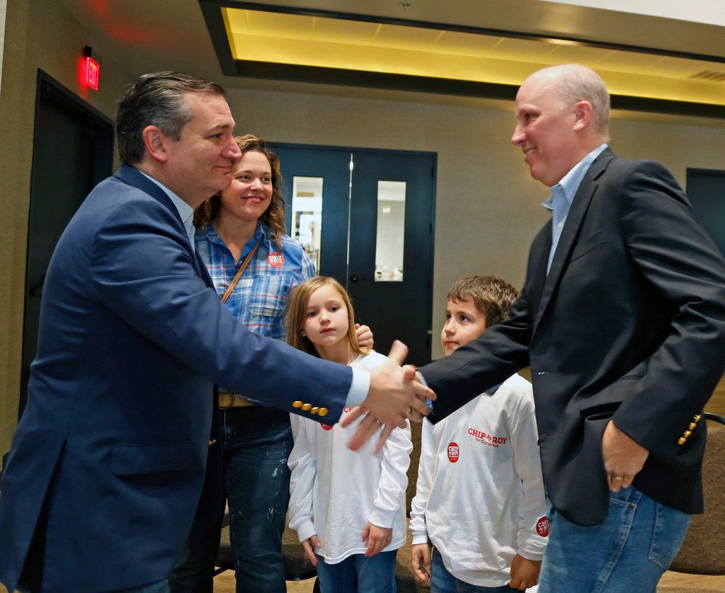 Sen. Ted Cruz  greets congressional candidate Chip Roy, his wife, Carrah Roy, and their children, Virginia and Charlie. Cruz and Roy campaigned together on Feb. 10 at New Braunfels Village Venue at Creekside.