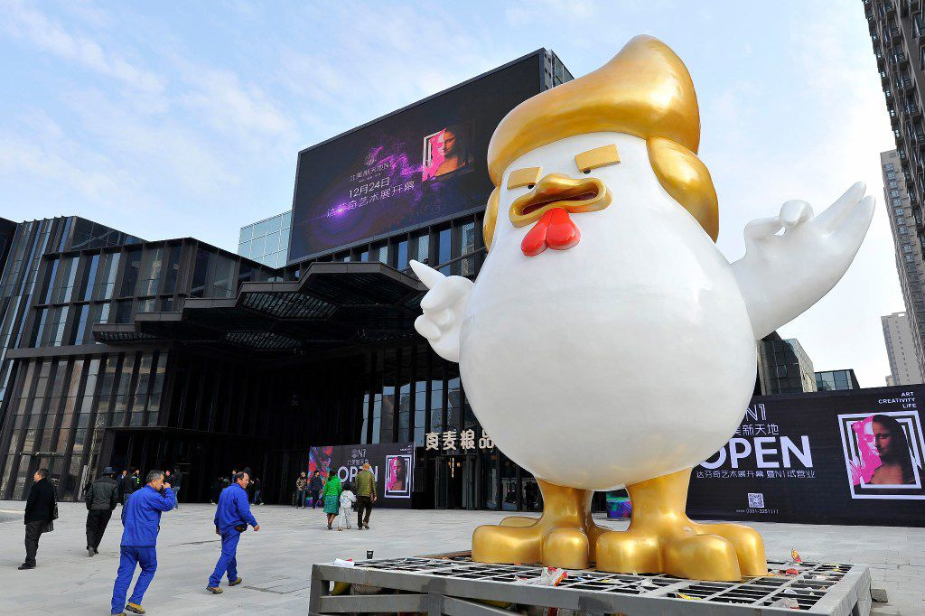 A giant chicken sculpture made in the likeness of Donald Trump was put up outside a shopping mall in Taiyuan, in north China's Shanxi province. (Agence France-Presse)