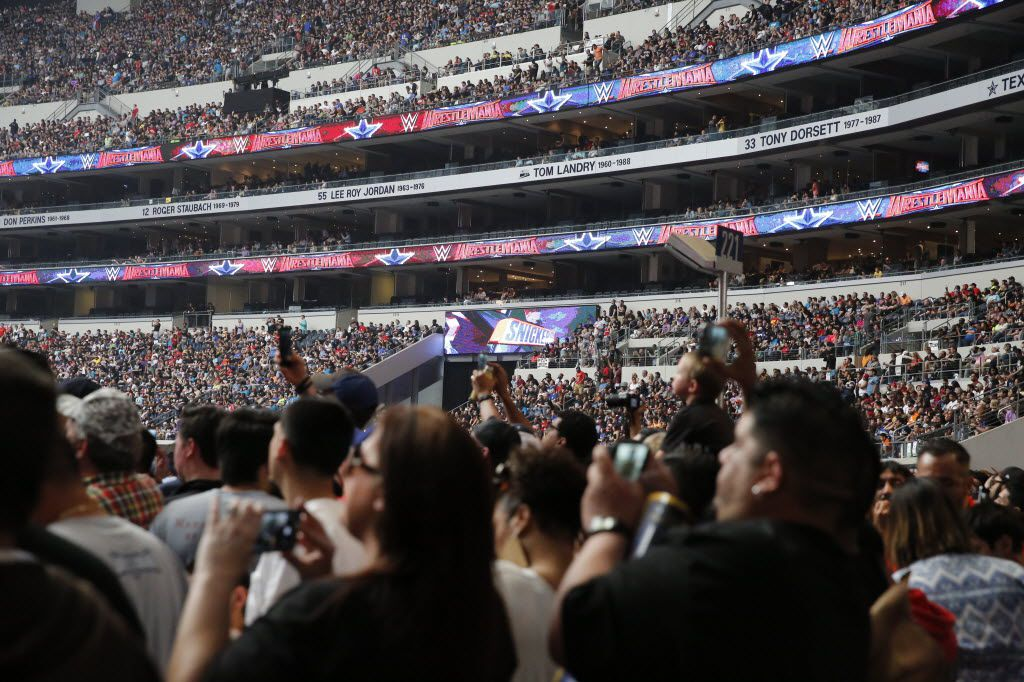 WWE fans fill the stands before WrestleMania 32 at AT&T Stadium in Arlington, TX, Sunday, April 3, 2016. (David Guzman/The Dallas Morning News)