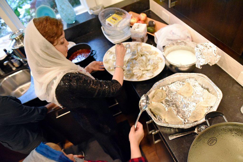 Jamileh Jafari prepares beef dumplings known as mantu.
