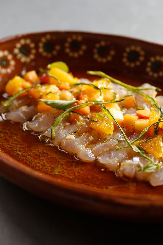 Snapper crudo with citrus and stone fruit