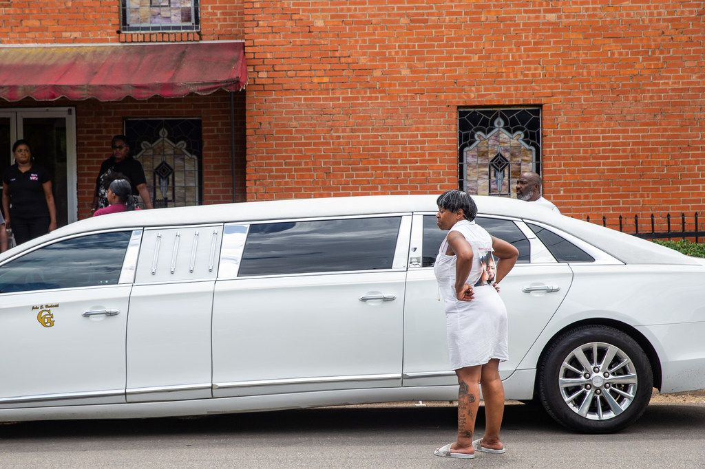 Tonya Elder prepares to leave the funeral service of her 9-year-old granddaughter, Brandoniya Bennett, at the New Morning Star Missionary Baptist Church on Friday.