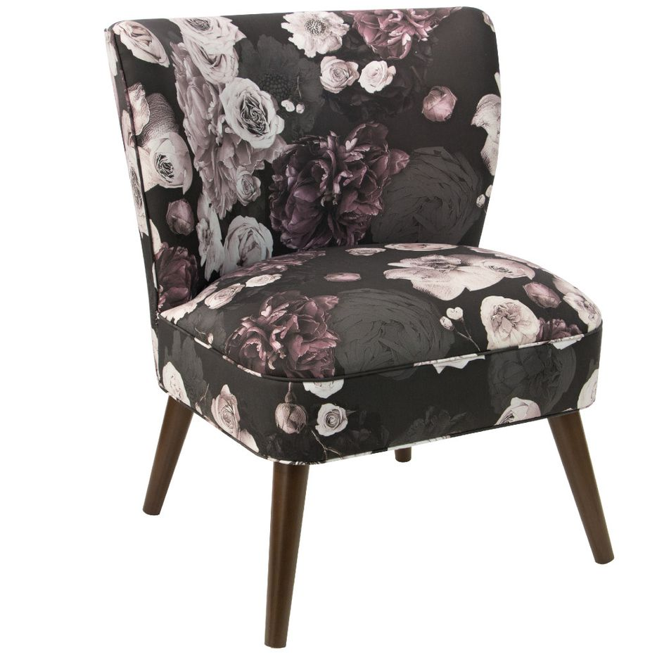 Cloth & Company Apartment Therapy Accent Chair in Photofloral Icy Black, $610, amazon.com