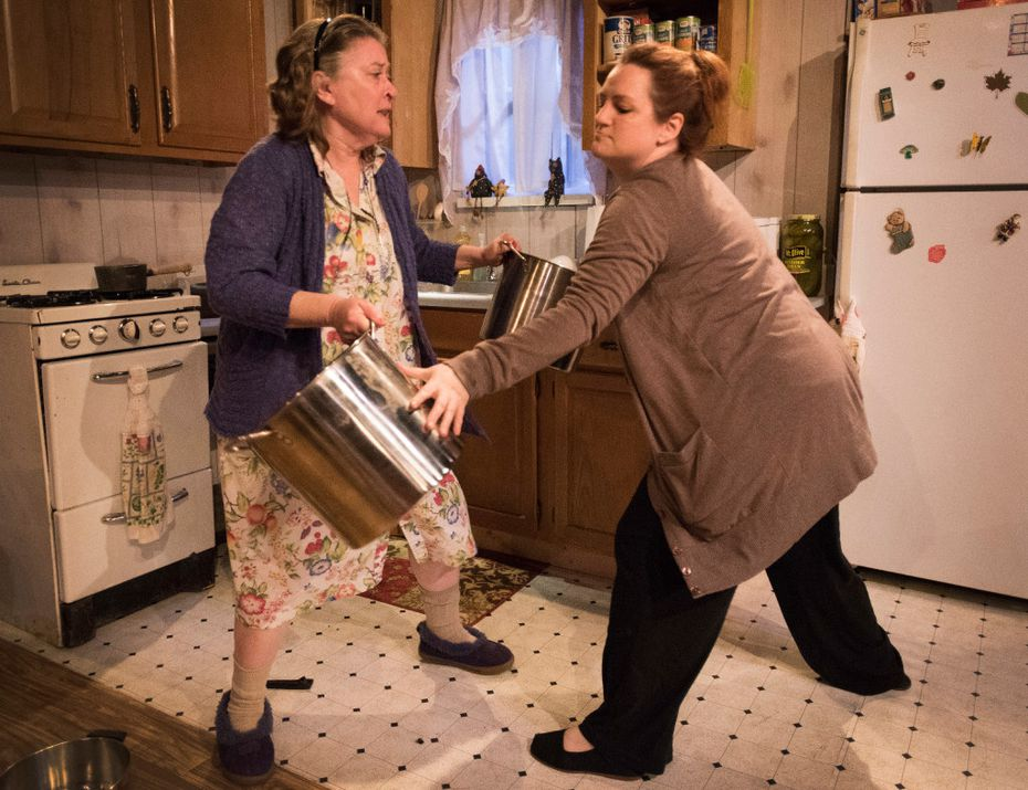"""Amber Devlin, left, in the role of Mama (Thelma Cates) and Jessica Cavanagh in the role of Jesse Cates perform a scene from the Marsha Norman play,  """"'€˜night Mother""""in the Echo Theatre production at the Bath House Cultural Center."""