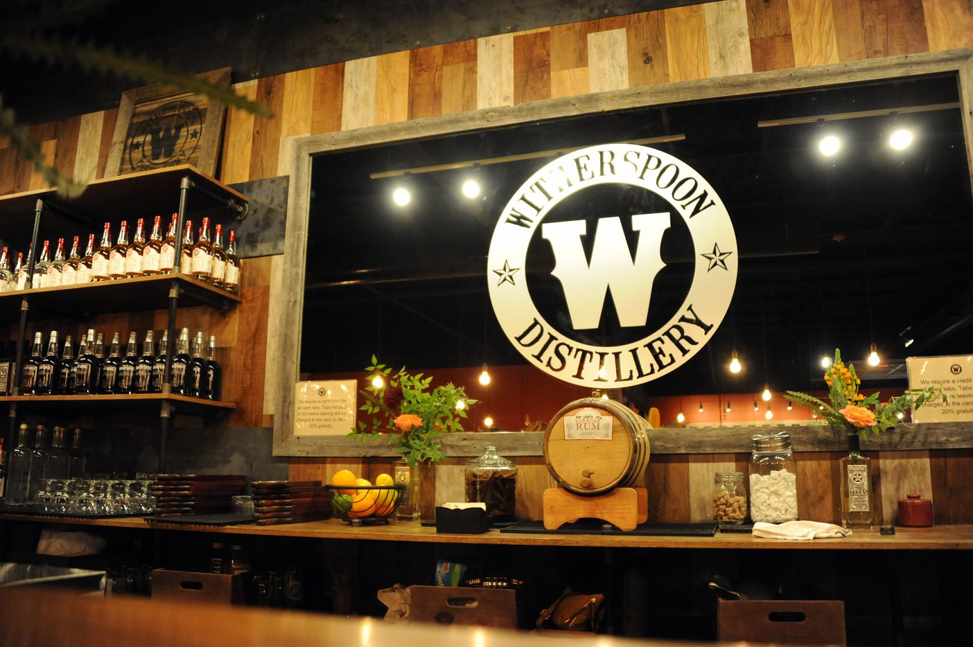 The bar features rum and bourbon at Witherspoon Distillery in Lewisville, TX on October 24, 2015.
