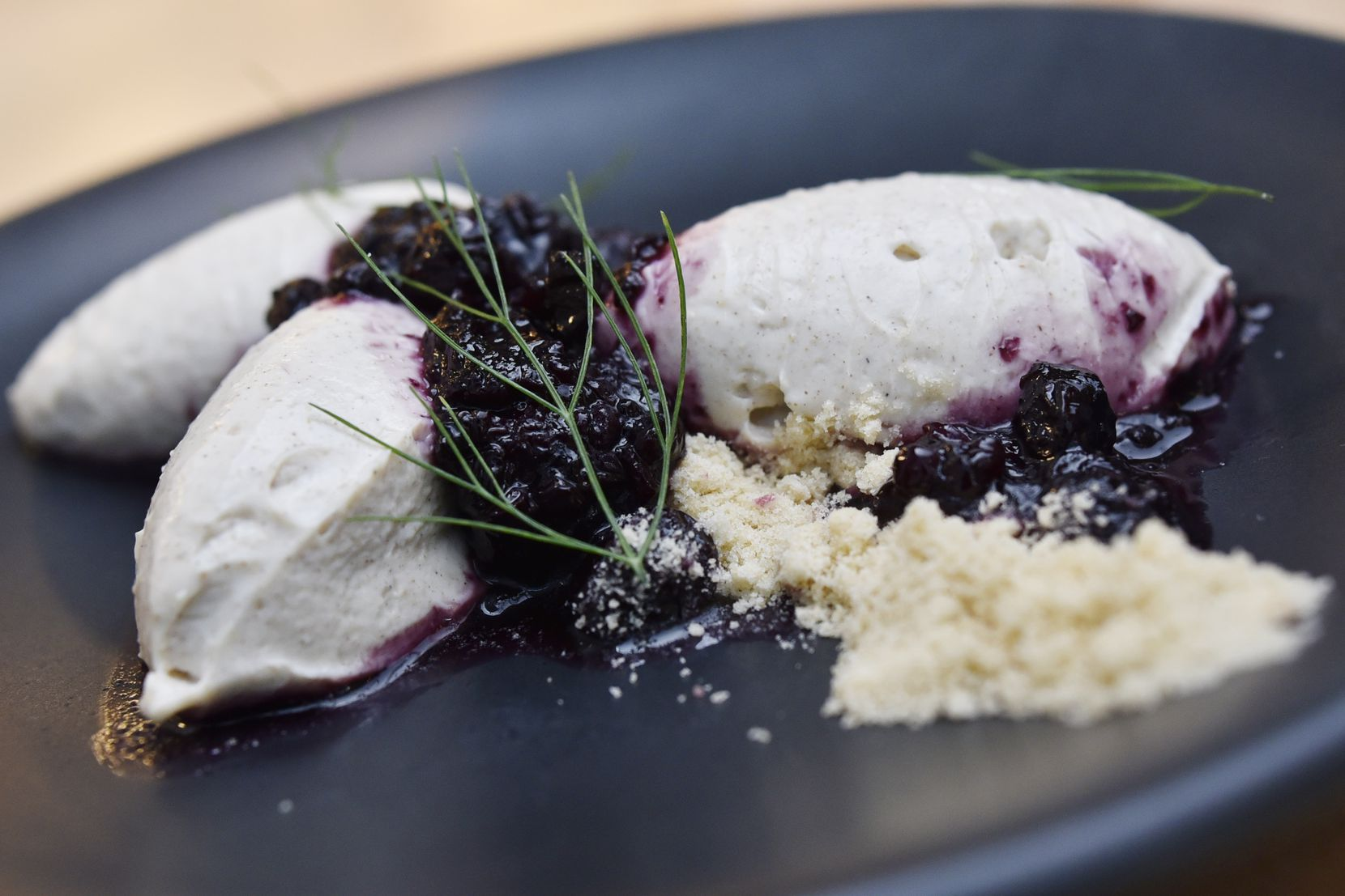 Pressed greek yogurt with berry compote and brown butter crumble