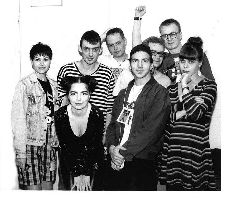 Wendy Naylor (left), with some rather familiar faces (BJORK! Eddie Vedder!) at EdgeFest back when it mattered.