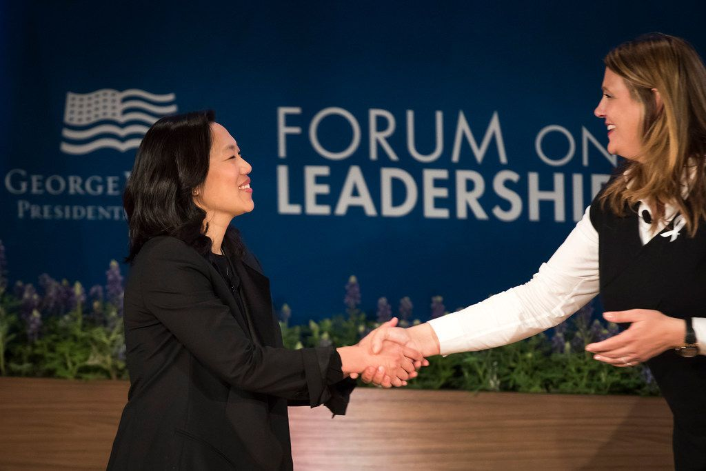 Dr. Priscilla Chan, co-founder of The Chan Zuckerberg Initiative (left), is introduced by moderator Anne Wicks, director of education reform at the George W. Bush Presidential Center, before a discussion titled Preparing All Kids for an Unpredictable Future: the Promise of Lifelong Learning during the Forum on Leadership Wednesday.