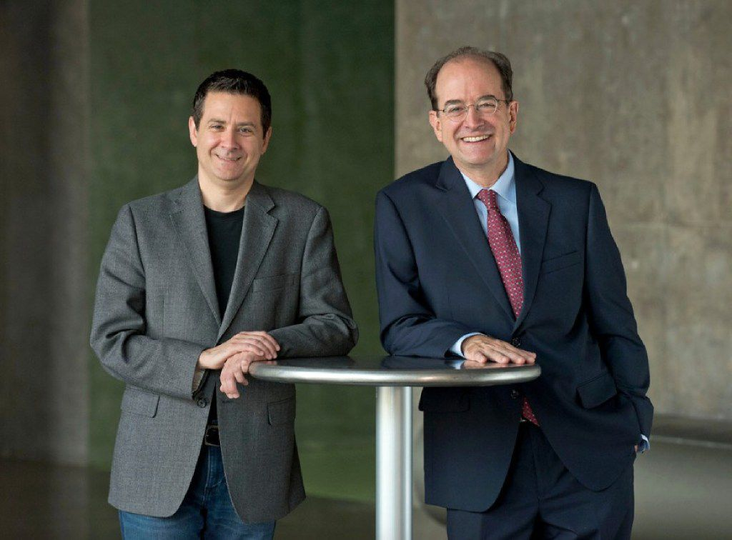 Kevin Moriarty (left), artistic director, and Jeff Woodward, managing director of Dallas Theater Center.