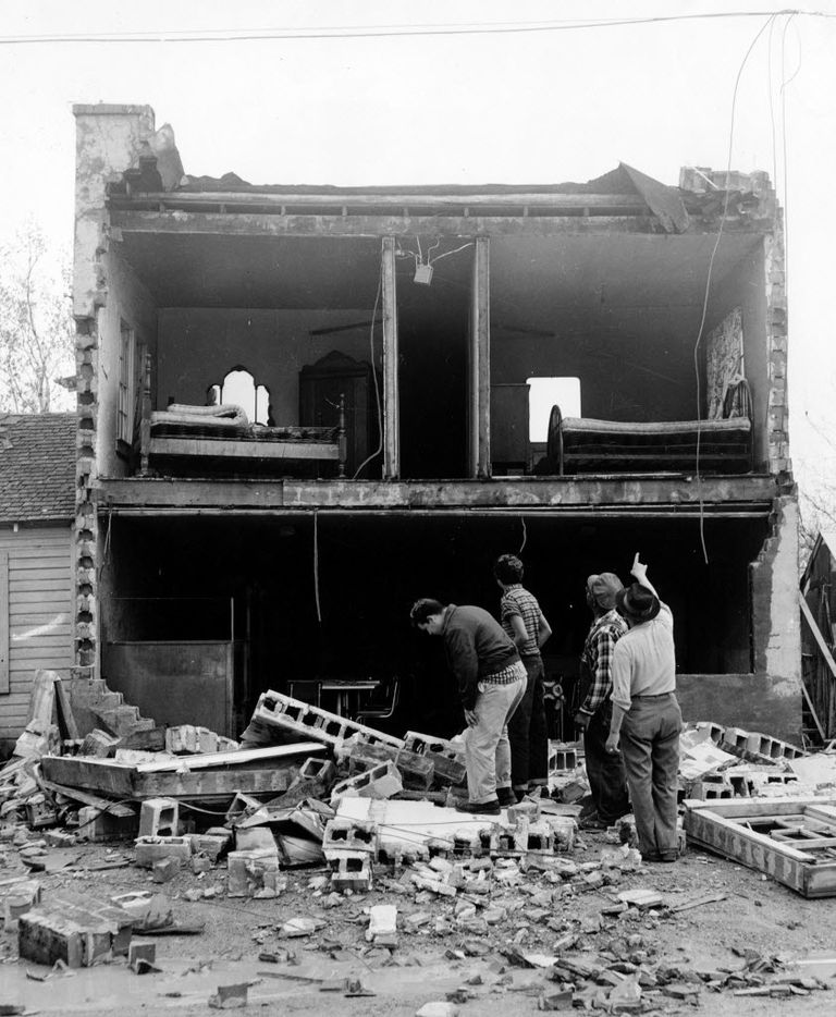 The 1957 tornado sheered off a wall of a home in Dallas.All told it caused $4 million in property damage.