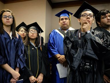 """Students and former students from left to right, Alejandra Villasenor, Maria Yolisma Garcia, Diana De Los Reyes, Jesus Ochoa, Carlos Estrada and Daniel Candelaria wait to testify against a repeal of the so-called """"Texas Dream Act"""" of 2001, in Austin, Texas, Monday, April 6, 2015."""