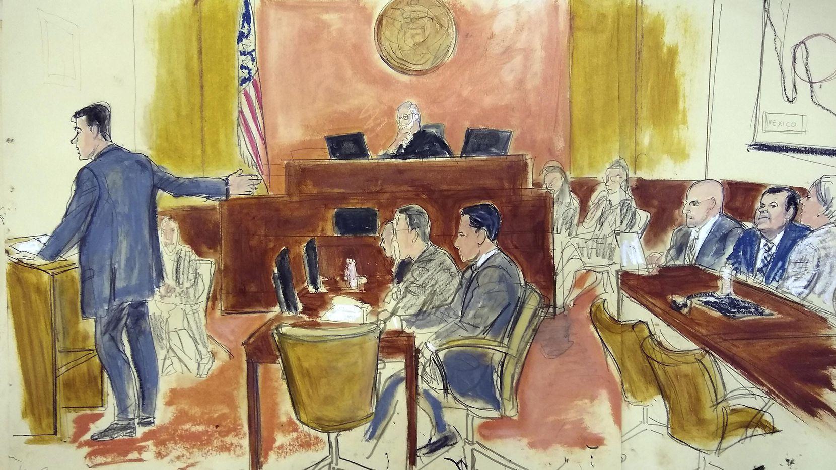 """Una ilustración del juicio en Brooklyn, Nueva York, a el narcotraficante Joaquín """"EL Chapo"""" Guzmán. AP"""