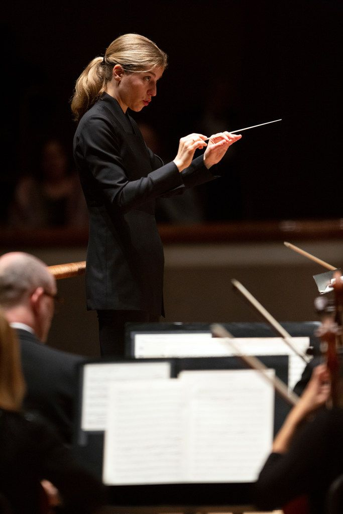 Guest conductor Karina Canellakis leads the Dallas Symphony Orchestra at the Meyerson Symphony Center in Dallas on May 9, 2019.